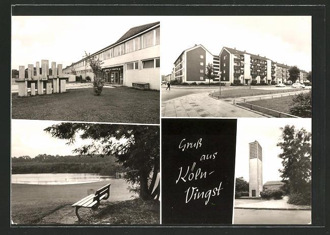 AK Köln-Vingst, Blick auf Neubausiedlung, Kirchturm und See