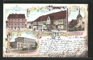 Lithographie Hadmersleben, Gasthof Rathskeller, Bahnhof, Postamt