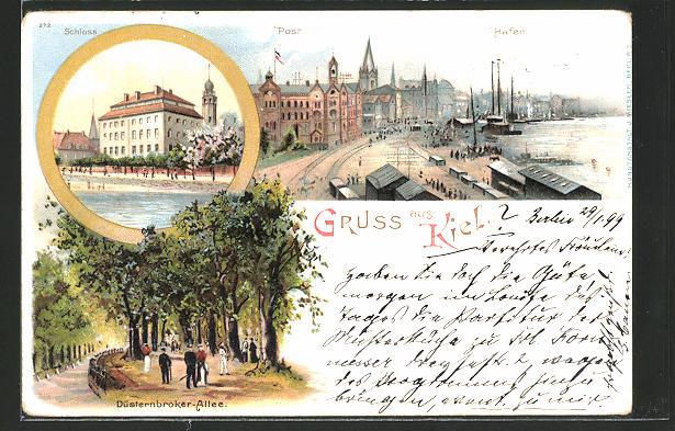 Lithographie Kiel, Panorama mit Hafen und Post, Schloss und Düsterbroker-Allee