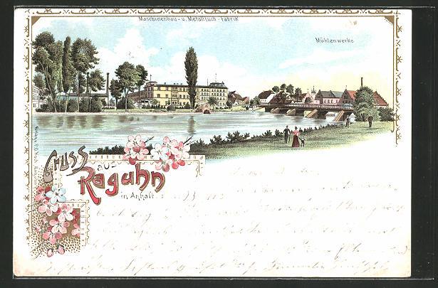 Lithographie Raguhn in Anhalt, Panorama mit Mühlenwerke & Maschinenbau- u. Metalltuch-Fabrik