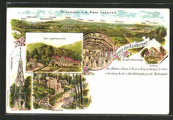 Lithographie Wittmar, Gasthaus zur Asse mit Burgruine und Aussichtsturm