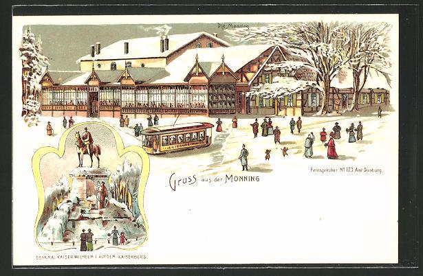 Winter-Lithographie Duisburg, Gasthaus zum Monning, Denkmal Kaiser Wiolhelm I. aif dem Kaiserberg
