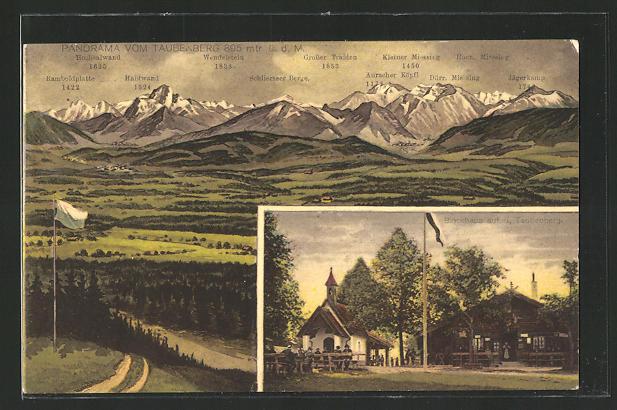 AK Warngau, Gasthaus Taubenberg, Panorama vom Taubenberg