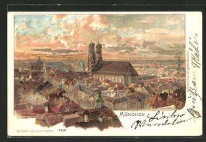 Lithographie München, Frauenkirche im Stadtbild