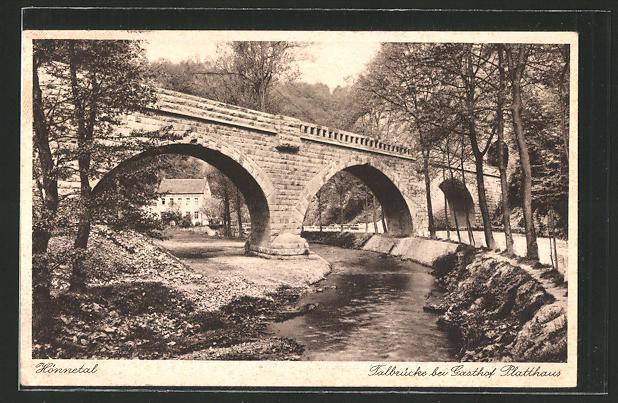 AK Menden, Gasthof Platthaus im Hönnetal und Talbrücke