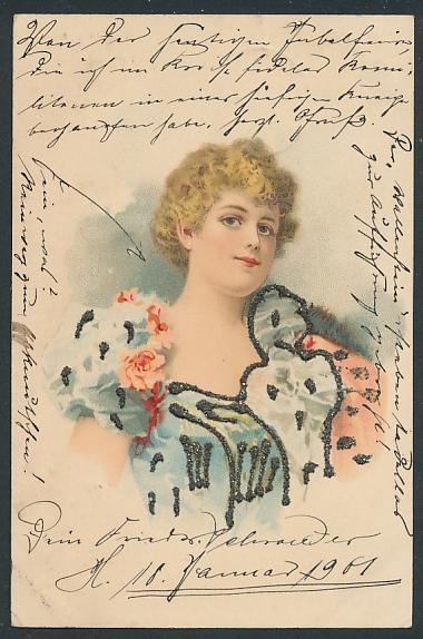 Glitzer-Perl-AK Junge Frau im Kleid mit Glitzer-Perlen