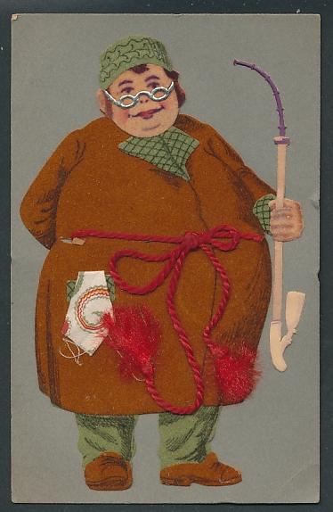 Filz-AK Dicker Mann mit Pfeife im Morgenrock aus Filz