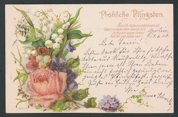 Glitzer-Perl-AK Pfingstgruss, Blumenstrauss mit Glitzer-Perlen
