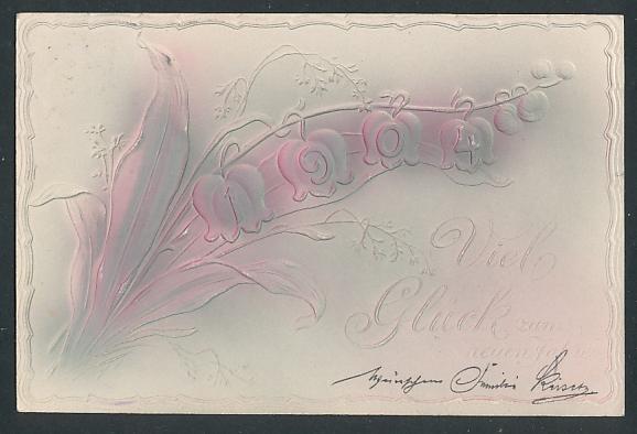 Präge-Airbrush-AK Neujahrsgruss, Maiglöckchen mit Jahreszahl 1904