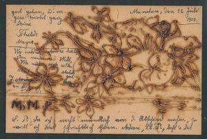 Holzbrand-Imitations-AK Blumen an einem Bach