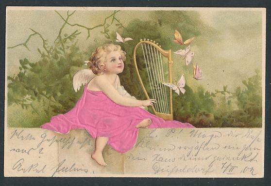 Stoff-Präge-AK Engelchen im Gewand aus Stoff mit Harfe
