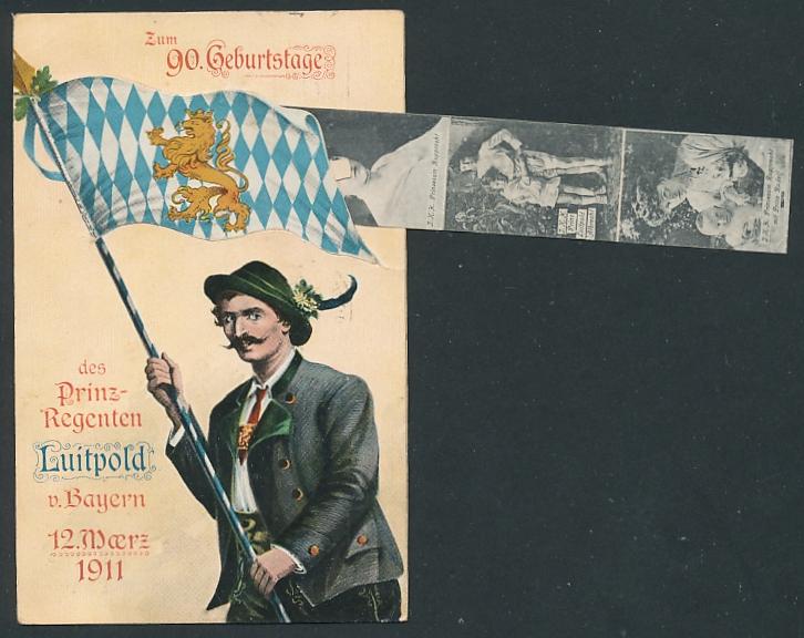 Leporello-AK 90. Geburtstag von Prinzregent Luitpold, Residenz in München, Portrait des Prinzregenten