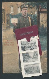 Leporello-AK Bonsecours, Briefträger mit Ansichten von Kirche und Chateau de l'Ermitage in der Tasche