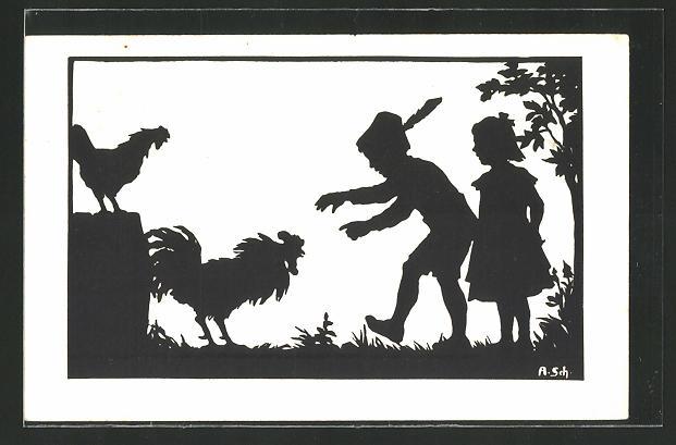 Künstler-AK Anna Schirmer: Knabe versucht einen Hahn zu fangen