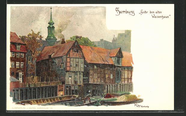 Künstler-AK Heinrich Kley: Hamburg, Hinter dem alten Waisenhaus