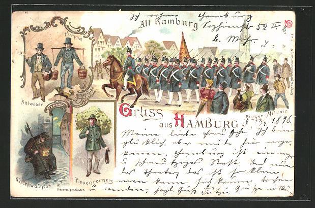 Lithographie Hamburg Alt Hamburg Aalweber Hummel Piepenreimers Nachtwachter Burger Militar