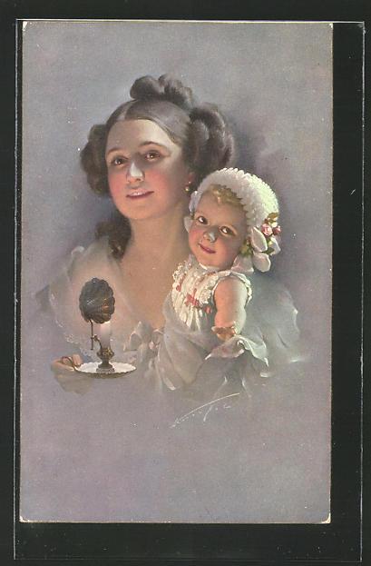 Künstler-AK Ludwig Knoefel: Mutter mit Kind und Nachtlicht