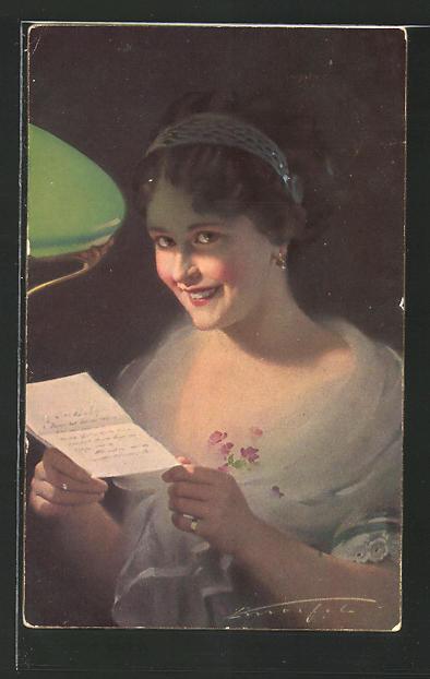 Künstler-AK Ludwig Knoefel: Frau liest einen Brief im Lampenschein