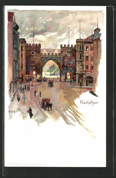 Künstler-AK Heinrich Kley: München, Blick zum Karlsthor