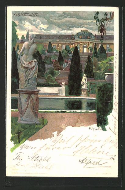 Künstler-AK Heinrich Kley: Potsdam, Ansicht von Schloss Sanssouci