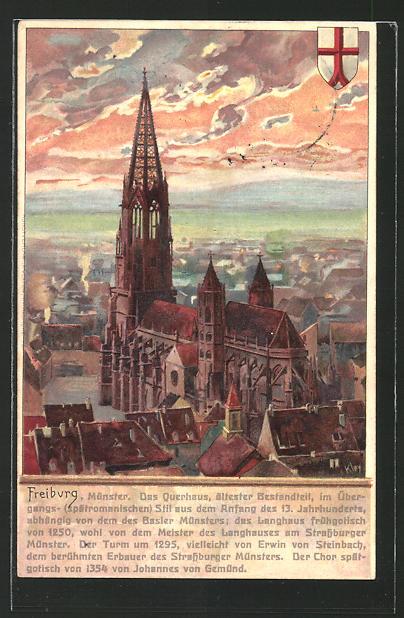 Künstler-AK Heinrich Kley: Freiburg, Münster im Abendlicht