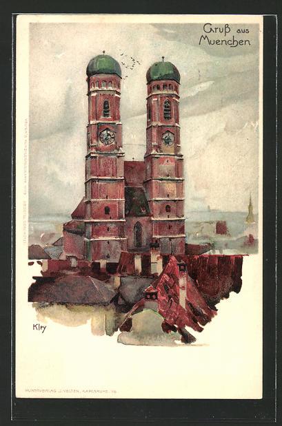 Künstler-AK Heinrich Kley: München, Frauenkirche im Stadtbild