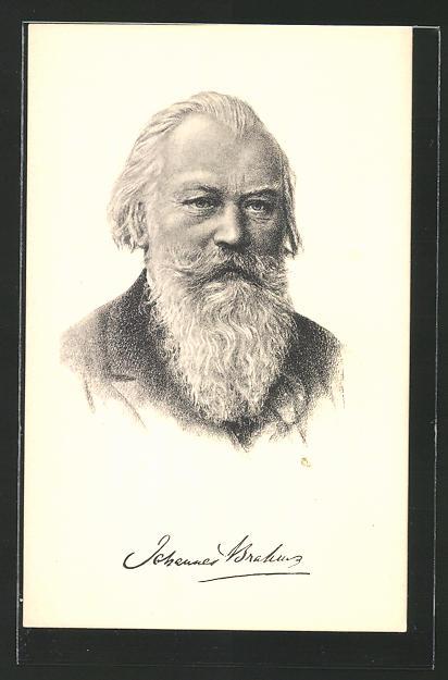 Künstler-AK Portrait des Komponisten Dr. Johannes Brahms