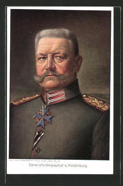 Künstler-AK Generalfeldmarschall Paul von Hindenburg in Uniform