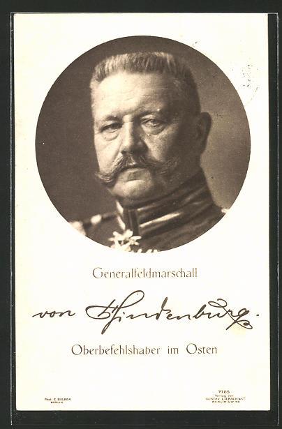 AK Generalfeldmarschall Paul von Hindenburg, Oberbefehlshaber im Osten