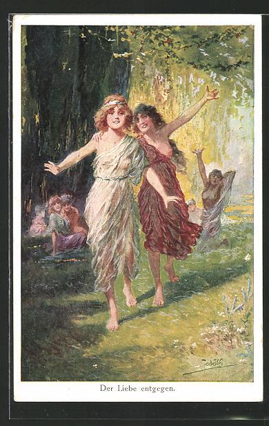Künstler-AK Adolf (Jodolfi): Der Liebe entgegen, Mädchen, Jugend