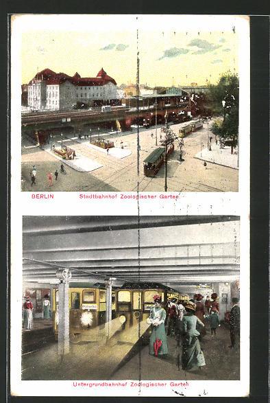 AK Berlin, Stadtbahnhof Zoologischer Garten und Untergrundbahnhof