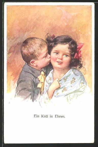 Künstler-AK Karl Feiertag: Ein Kuss in Ehren, kleines Paar