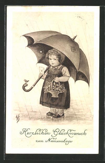 Künstler-AK Willi Scheuermann: Glückwunsch zum Namenstage, kleine Gratulantin unter Regenschirm
