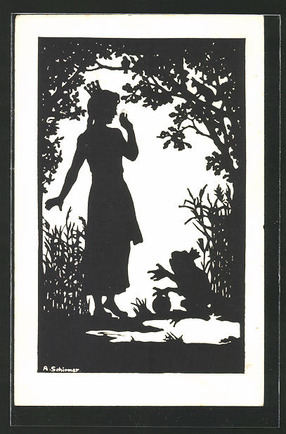 Künstler-AK Anna Schirmer: Der Froschkönig, Silhouette