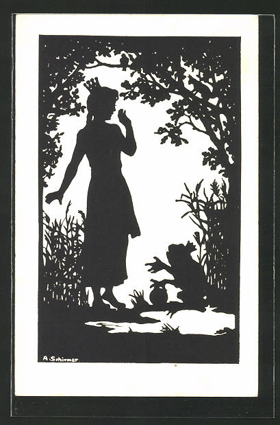 Künstler-AK Anna Schirmer: Silhouette, Der Froschkönig