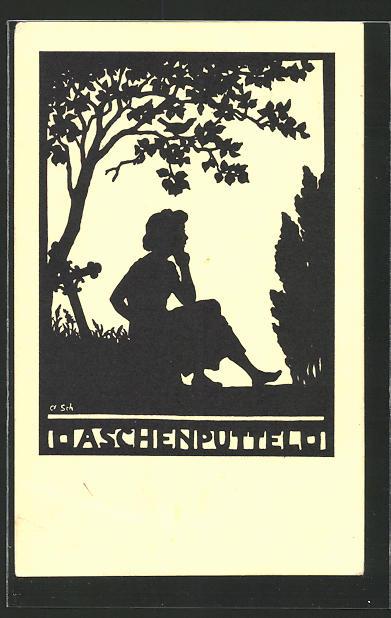 Künstler-AK Anna Schirmer: Aschenputtel, Silhouette