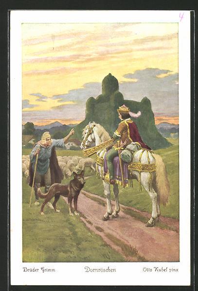 Künstler-AK Otto Kubel: Brüder Grimm, Dornröschen, 4. Rings um das schlafende Schloss