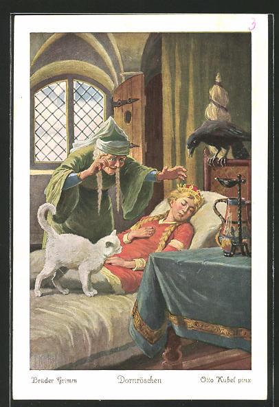 Künstler-AK Otto Kubel: Brüder Grimm, Dornröschen, 3. Der Zauberpunsch...