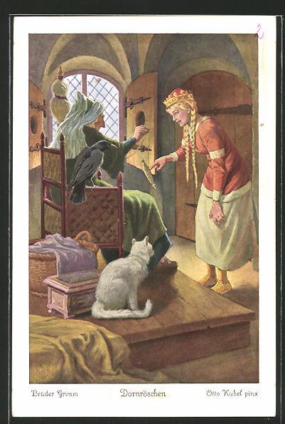 Künstler-AK Otto Kubel: Brüder Grimm, Dornröschen, 1. Der König...