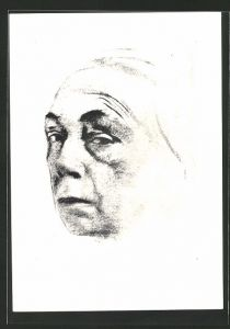 Künstler-AK Käthe Kollwitz: Selbstbild von 1924