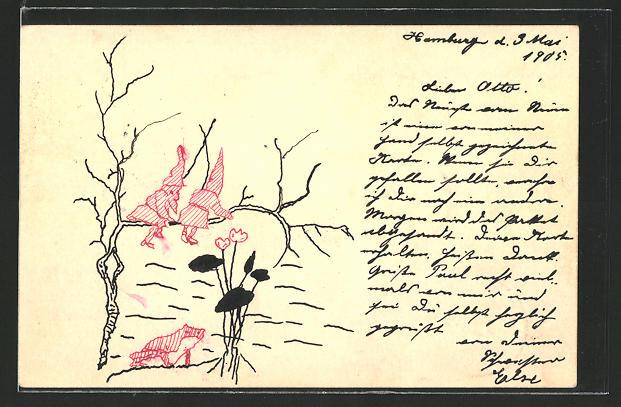 Künstler-AK Handgemalt: 2 Zwerge auf einem Ast über einem Frosch