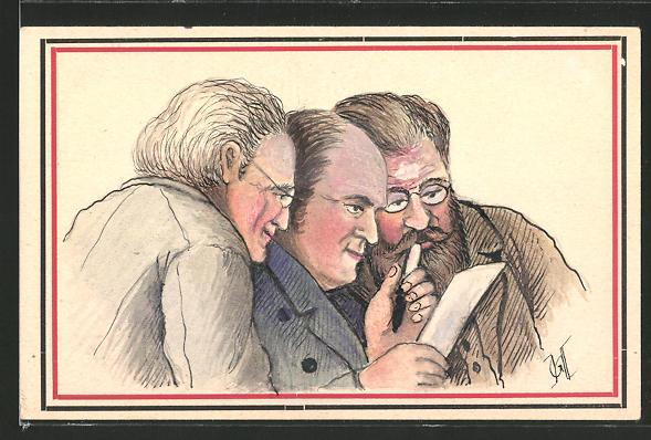 Künstler-AK Handgemalt: 3 Männer lesen zusammen einen Brief