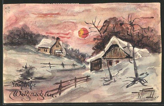 Künstler-AK Handgemalt: Häuserpartie im Schnee bei rotem Himmel