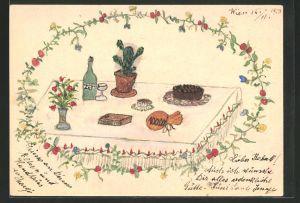 Künstler-AK Handgemalt: Geburtstagstisch mit Kuchen & Geschenken