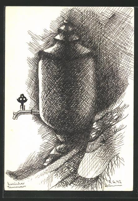 Künstler-AK Handgemalt: russischer Samowar, gezeichnet an der Front bei B.-M. im Bunker 07.06.1942