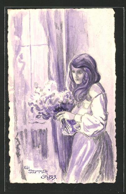Künstler-AK Handgemalt: ein stummer Gruss, trauerndes Mädchen am Fenster, sign. H. Gehbe