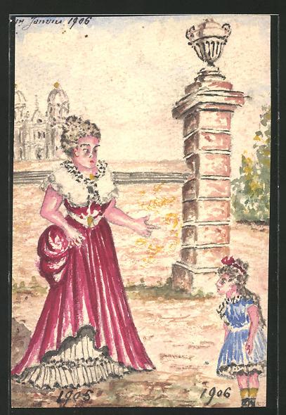 Künstler-AK Handgemalt: Frau in schönem roten Kleid & kleines Mädchen