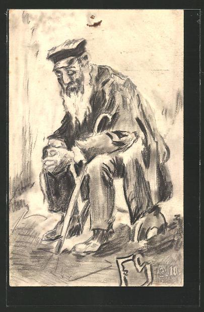 Künstler-AK Handgemalt: alter, erschöpfter Mann mit Stock, sign. FS