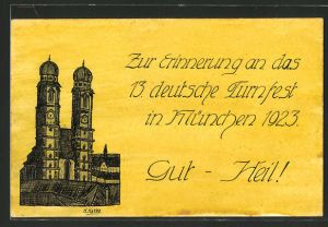 Künstler-AK Handgemalt: München, 13. deutsches Turnfest 1923, Frauenkirche