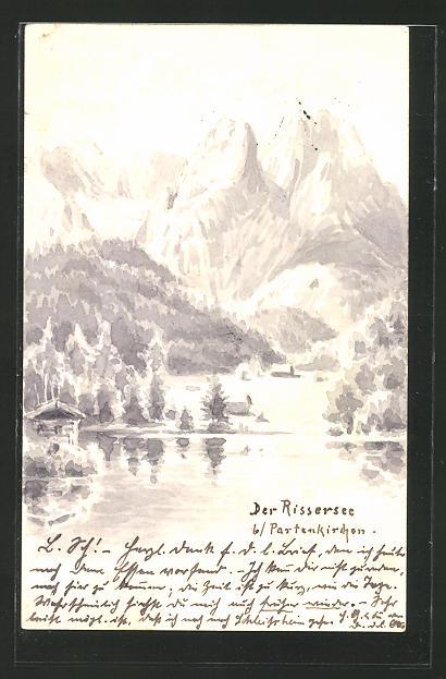 Künstler-AK Handgemalt: Rissersee mit Bergpanorama
